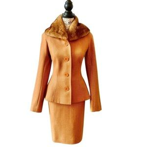 Christian Dior Boutique Apricot Wool Mink Suit 10